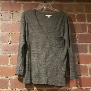 Olive colored soft fabric, long sleeve